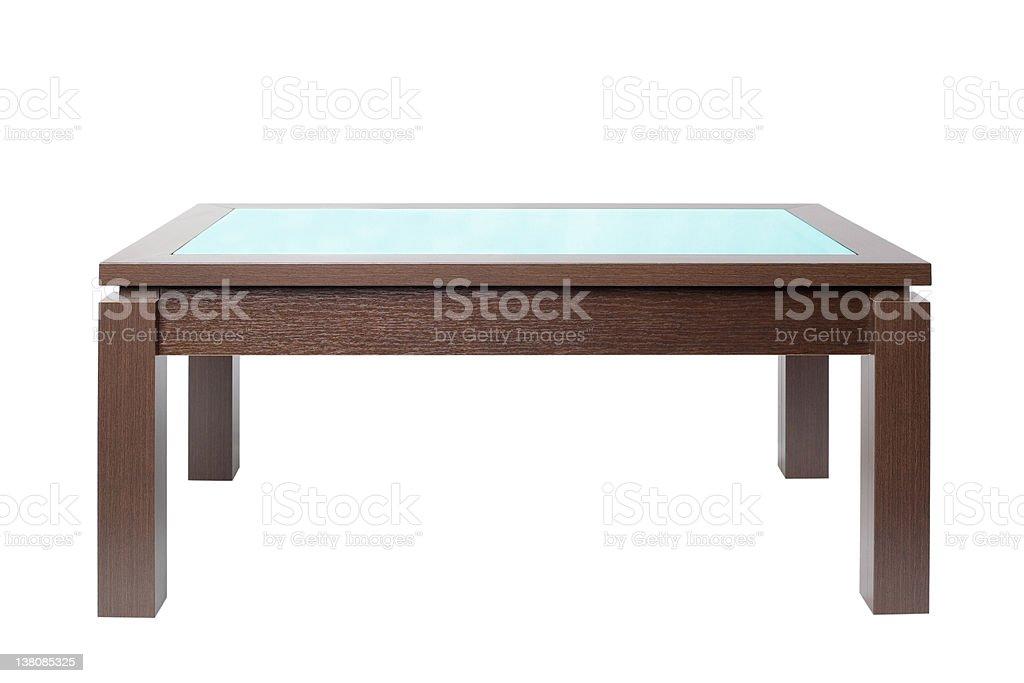Coffee table in dark wood stock photo