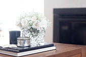 Coffee table living room decoration with white flowers
