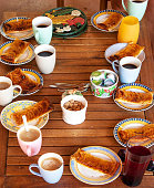 Coffee table with French apple pie
