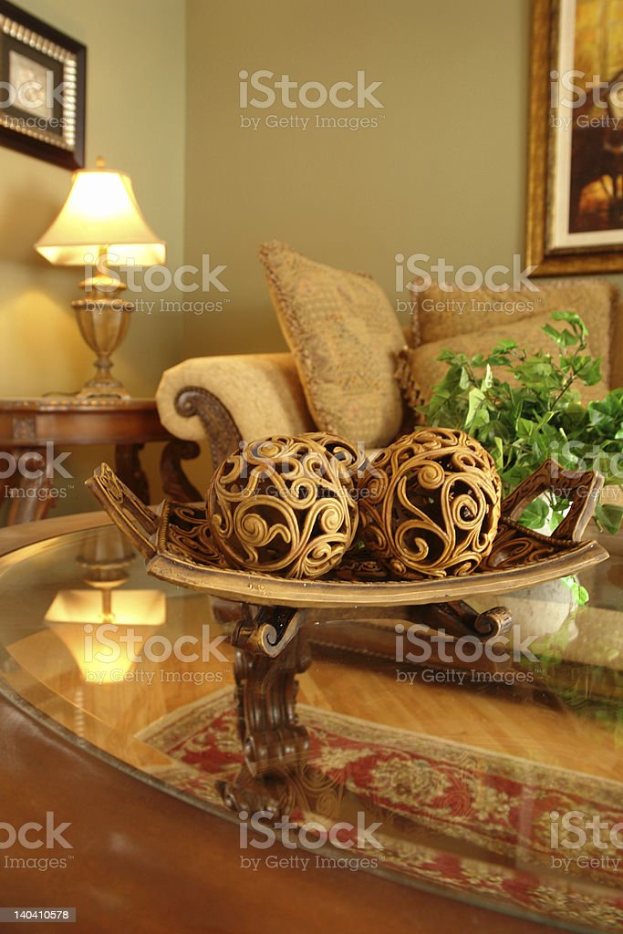 Coffee Table with woodcarved decorations royalty-free stock photo
