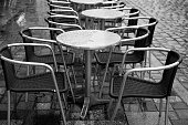 coffee tables and chairs on a rainy day