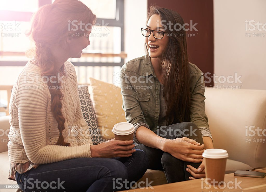 Coffee tastes better with a friend stock photo