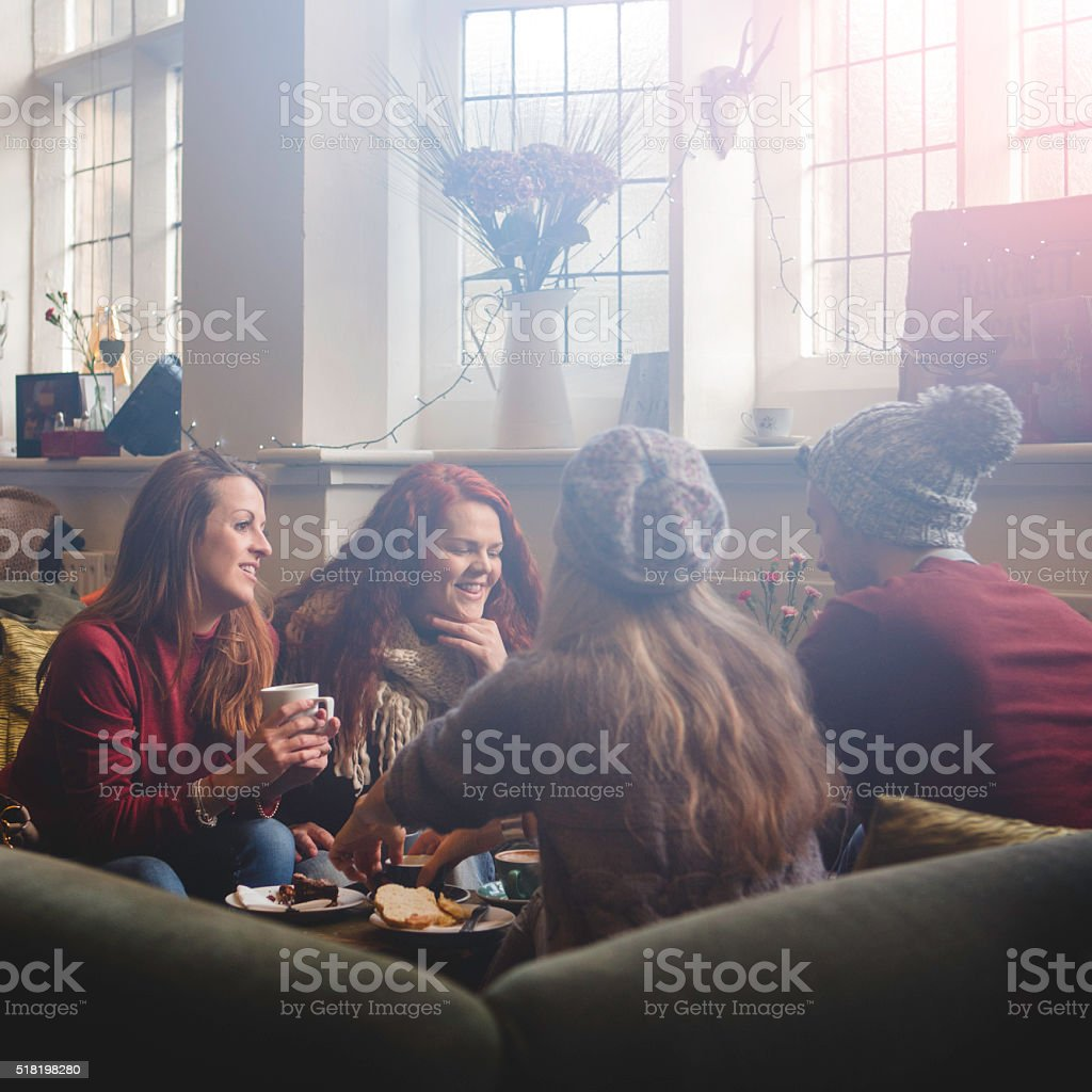 Coffee tastes better with friends. stock photo