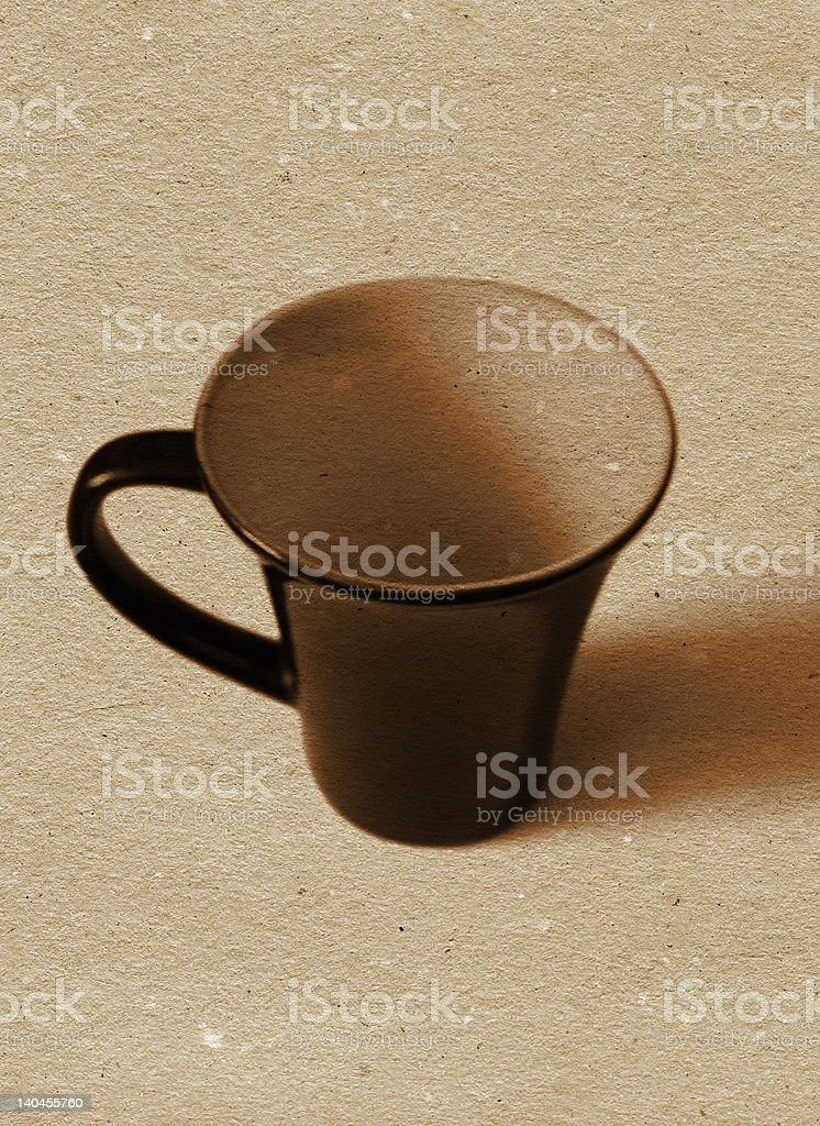 coffee / tea cup on textured paper background royalty-free stock photo