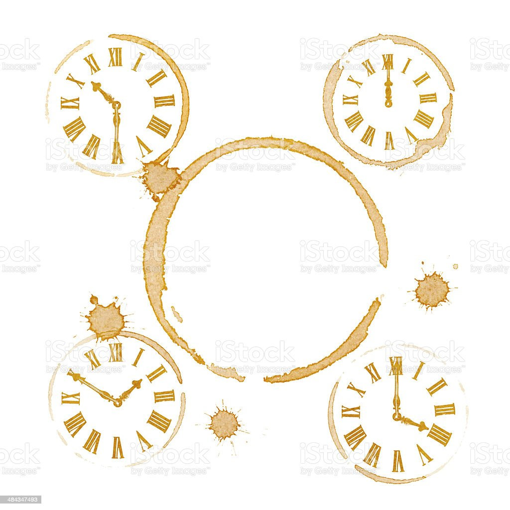 Coffee Tea Time Ring Stains and Clocks stock photo