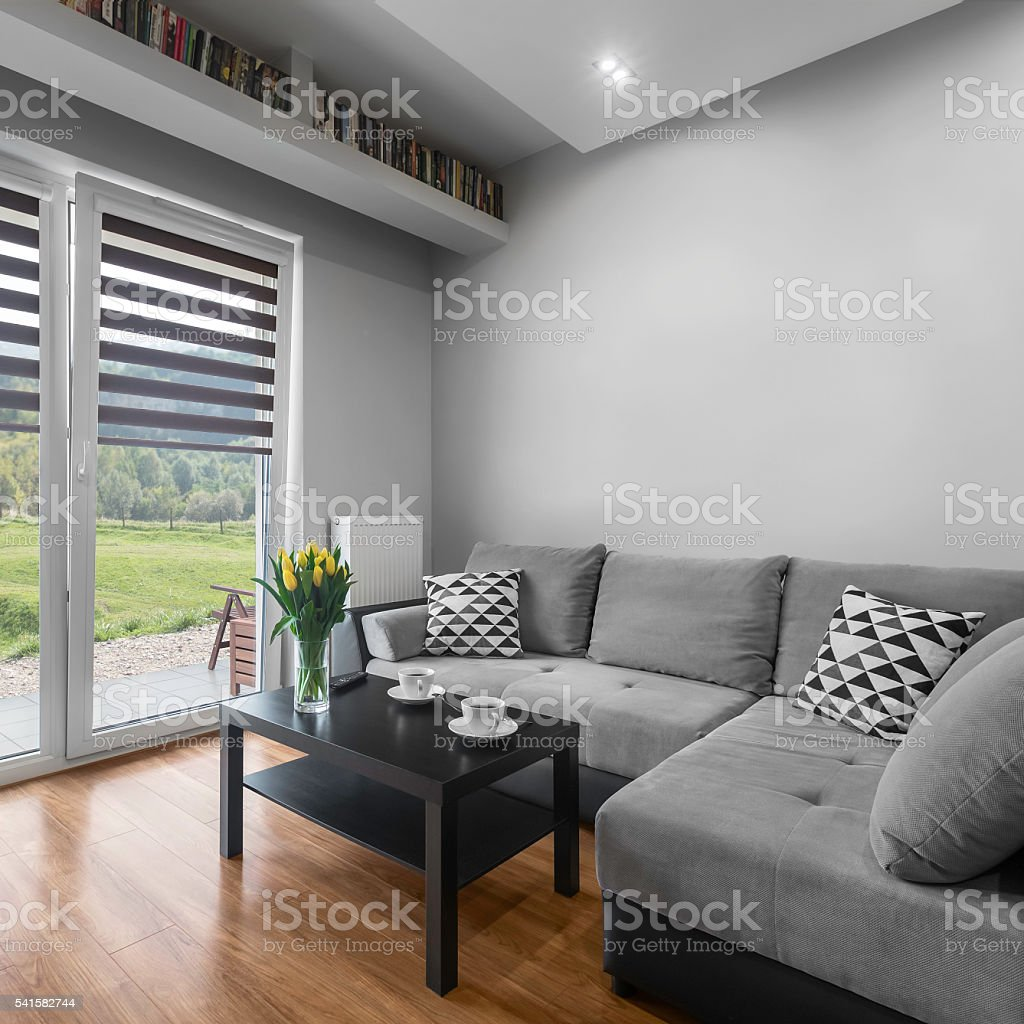 Coffee time in living room stock photo