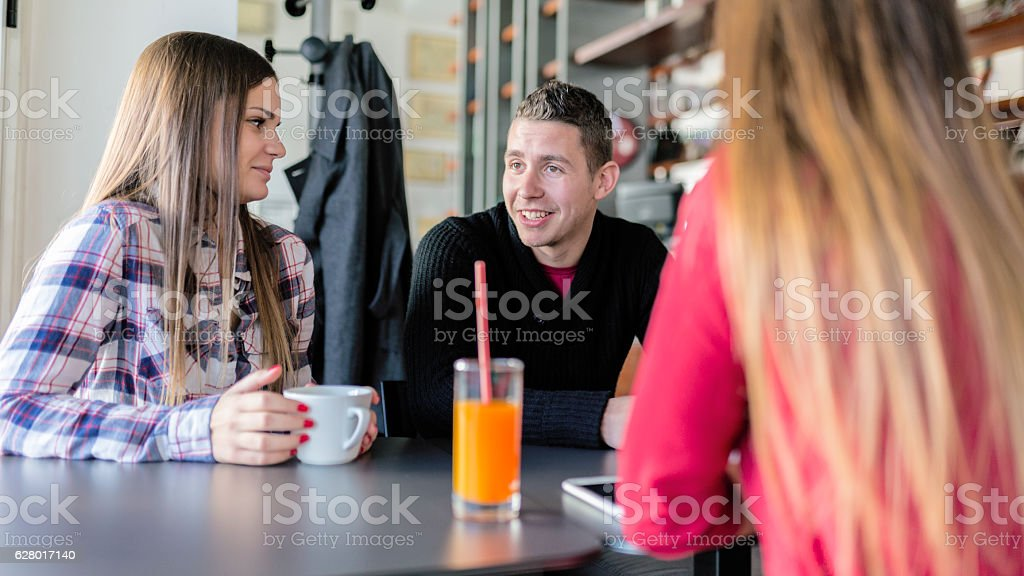 Coffee time with friends stock photo