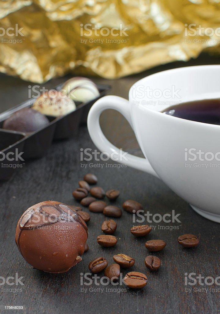 Coffee truffle with tea cup stock photo