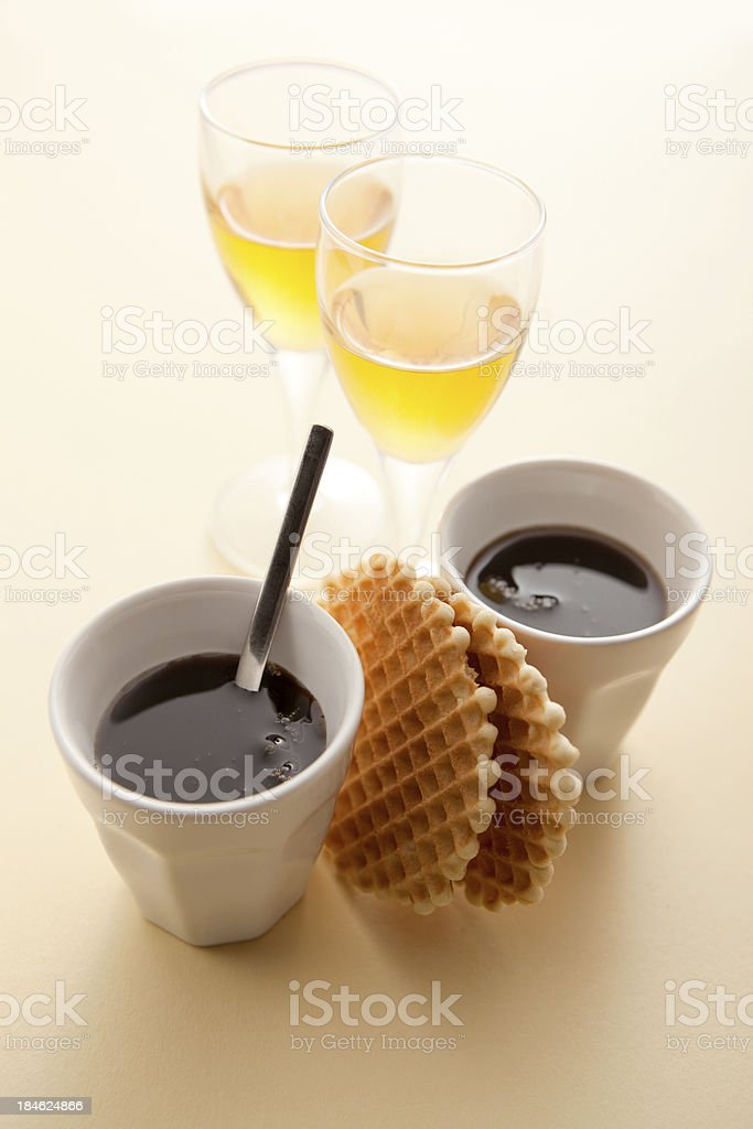 Coffee: Two Espresso and Liqueur royalty-free stock photo