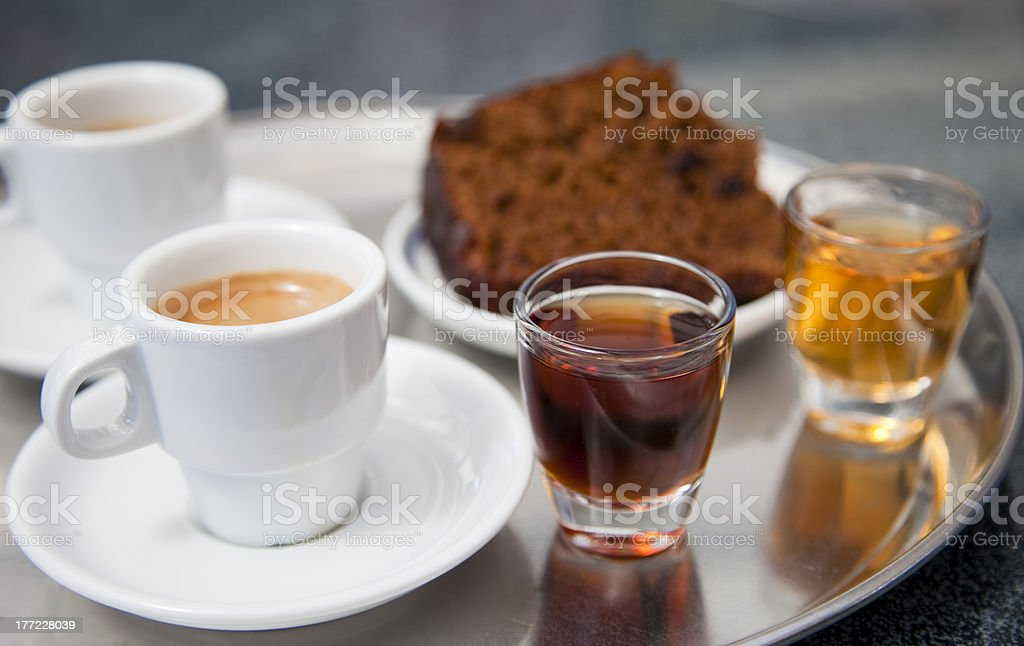 Coffee, two kinds of Madeira vine and honey gingerbread royalty-free stock photo