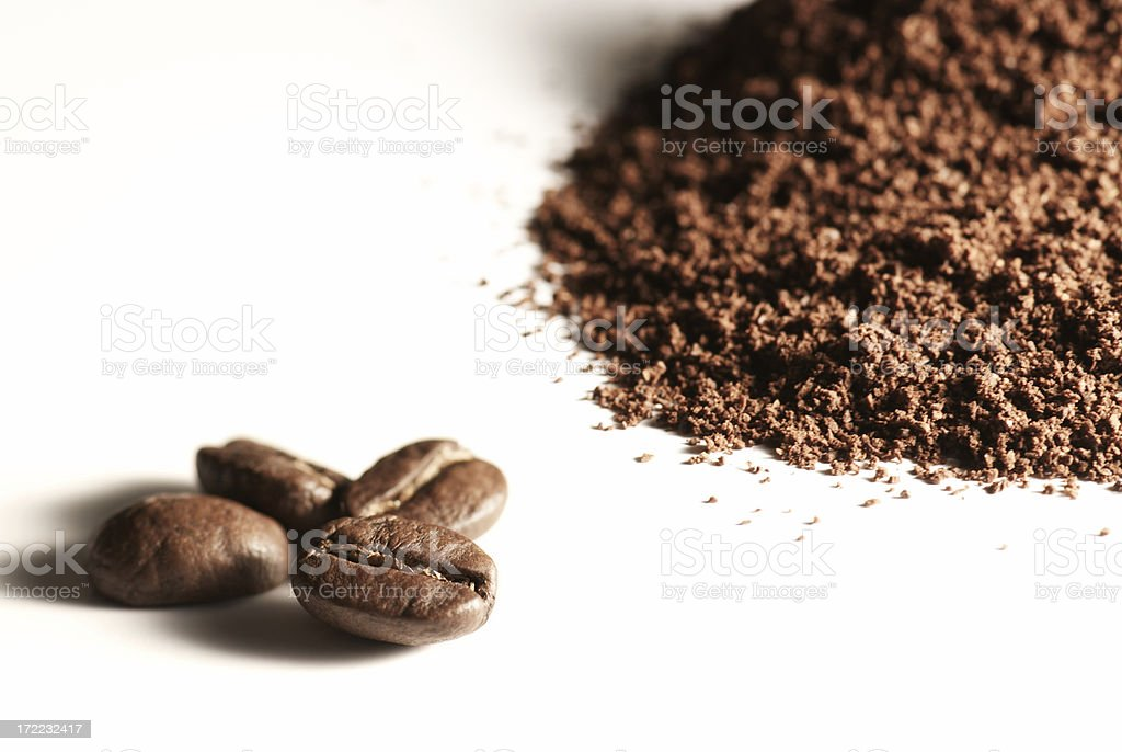 Coffee: whole beans and ground stock photo