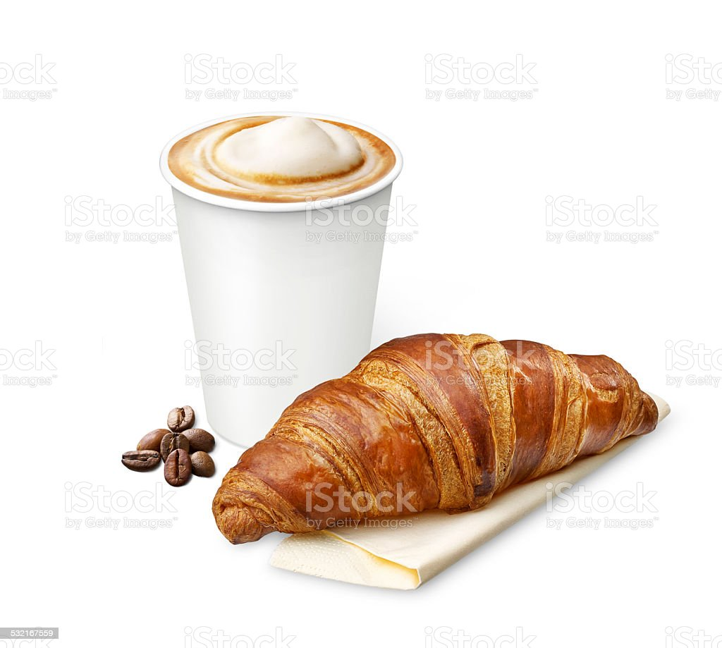 coffee with a croissant stock photo