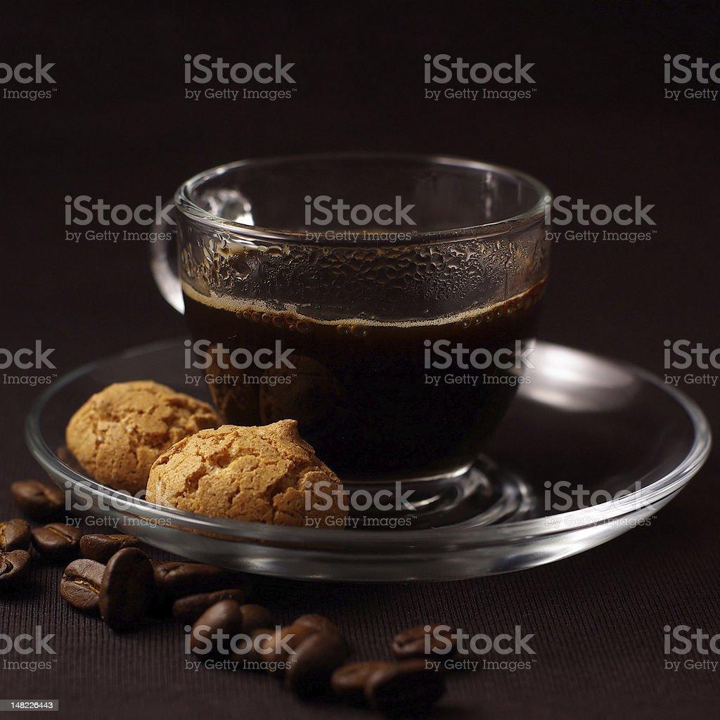 Coffee with Amarettini royalty-free stock photo