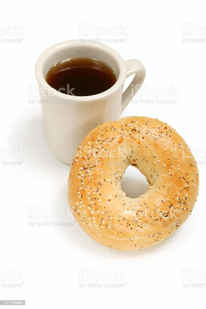 Coffee with bagel stock photo