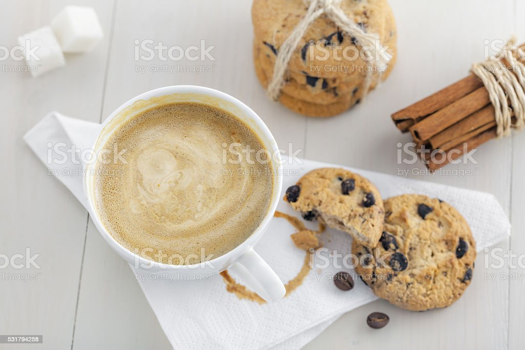 Coffee with biscuits stock photo