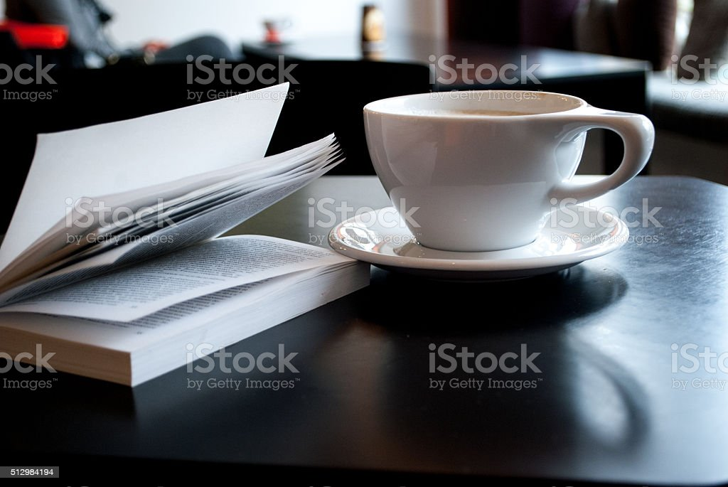 Coffee with book stock photo