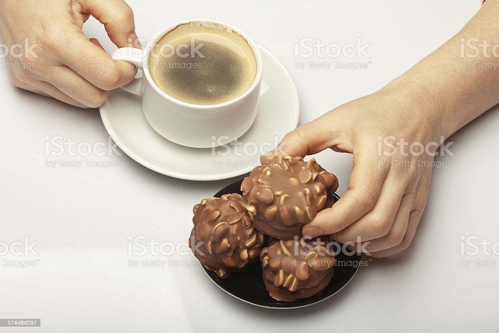 Coffee with chocolate biscuits royalty-free stock photo