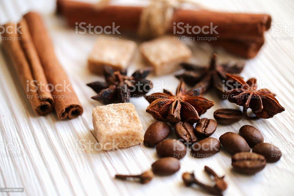 coffee with cinnamon stock photo