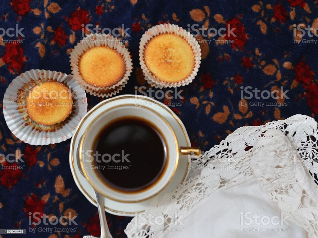 Coffee with Coconut Custard Tarts stock photo