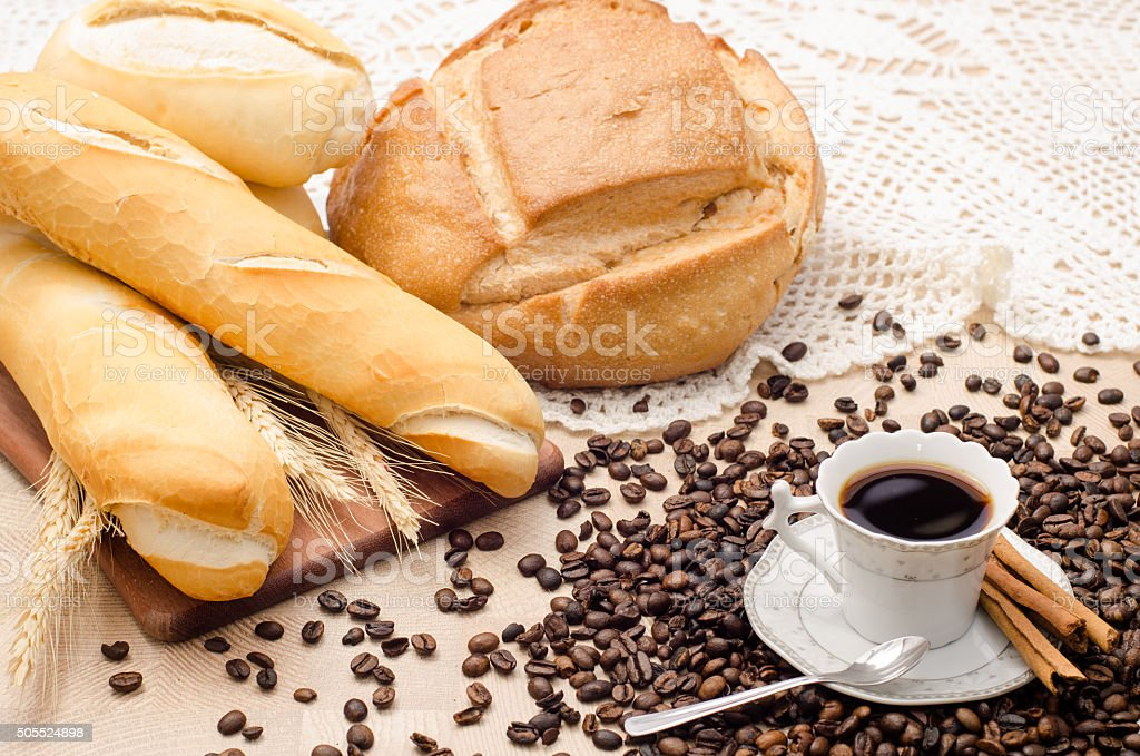 Coffee with coffee bean and bread stock photo