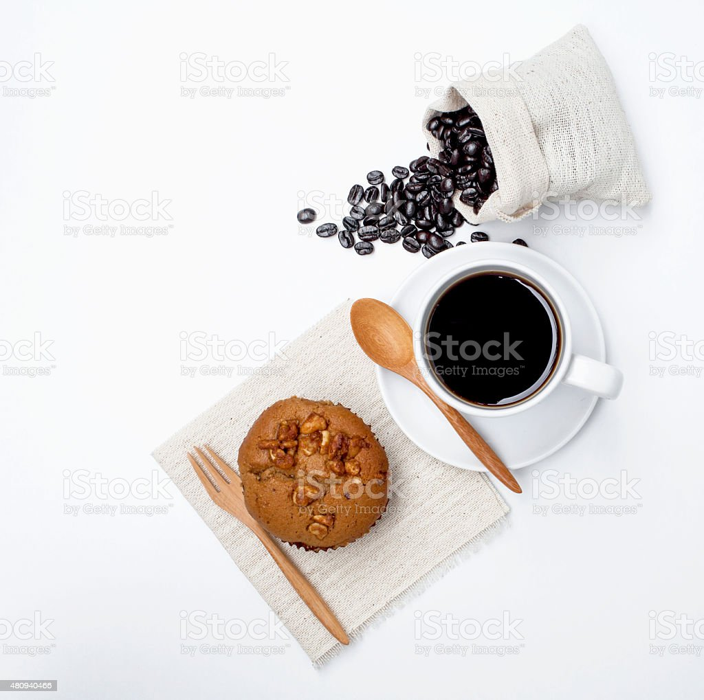 Coffee with Coffee muffin on white background stock photo