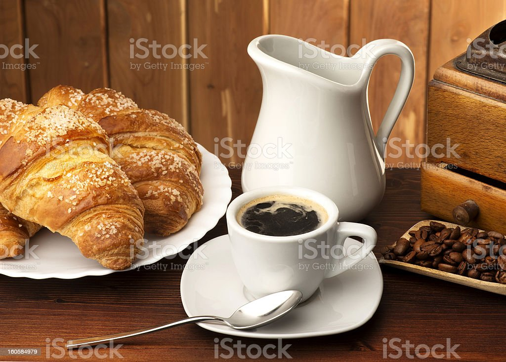 coffee with corissants royalty-free stock photo
