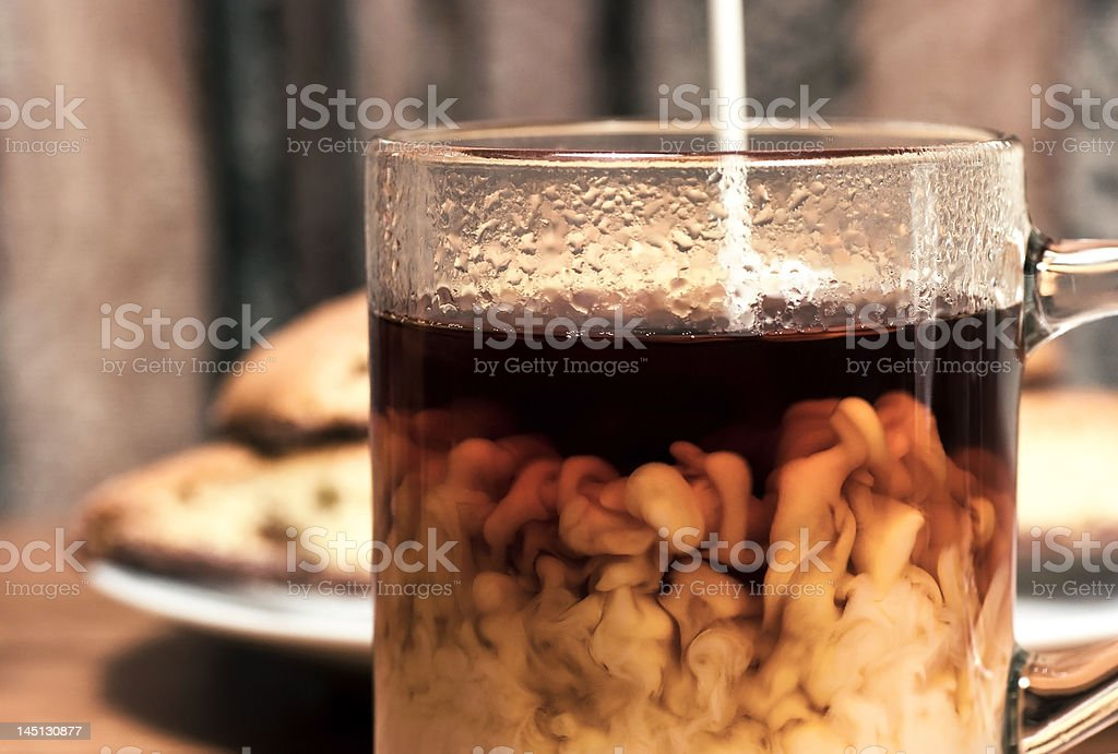 Coffee With Cream And Biscotti stock photo