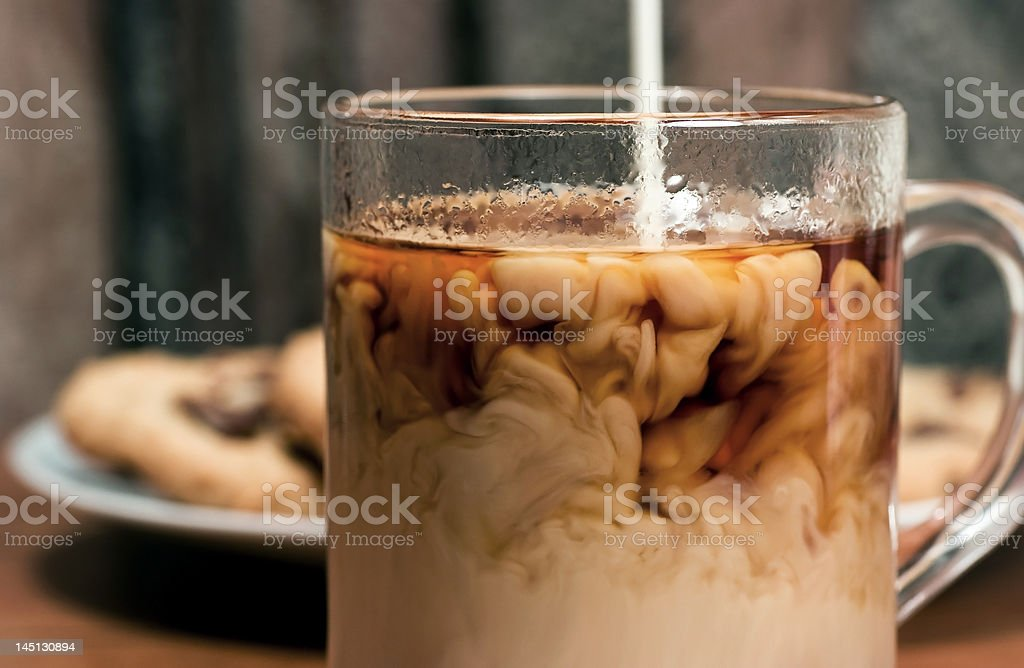 Coffee With Cream And Chocolate Chip Cookies stock photo