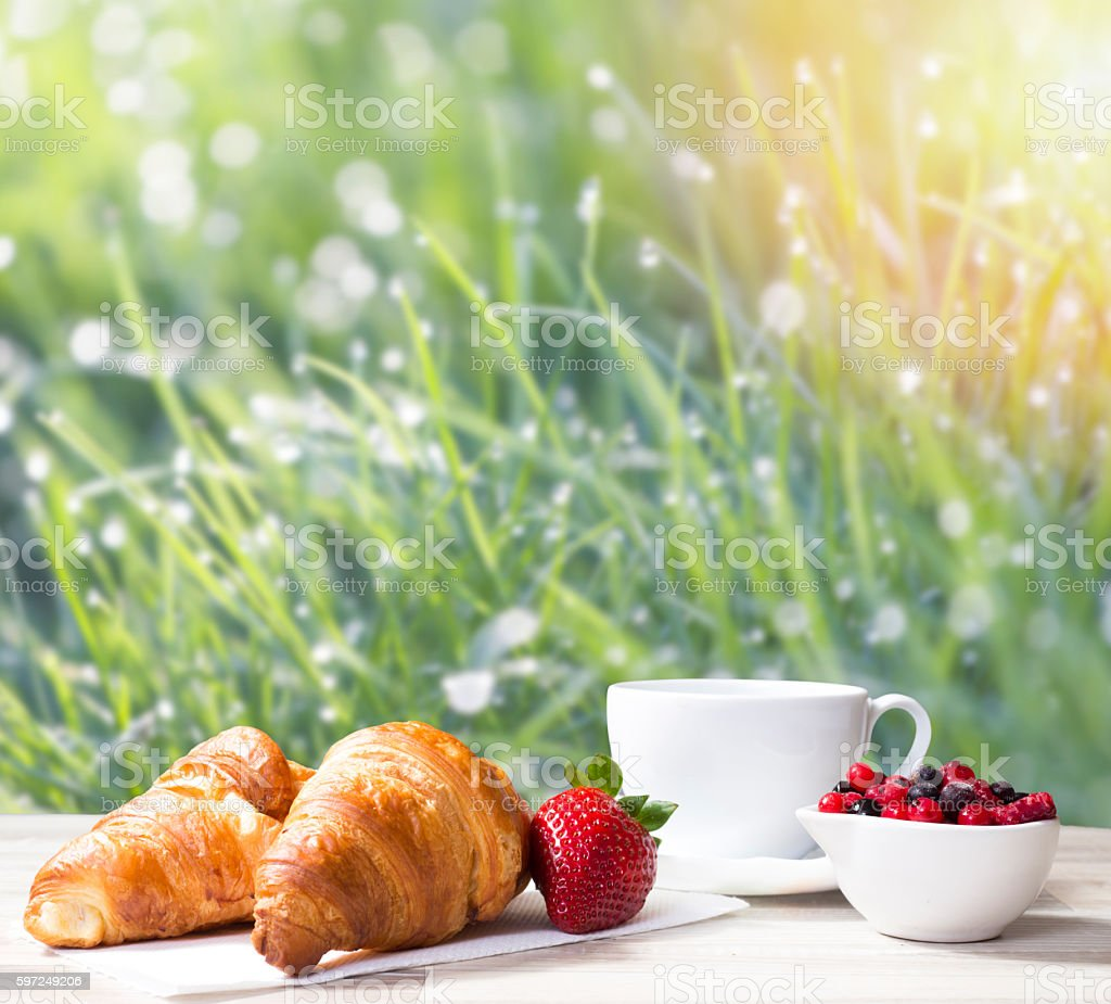 Coffee with croissants against grass field stock photo