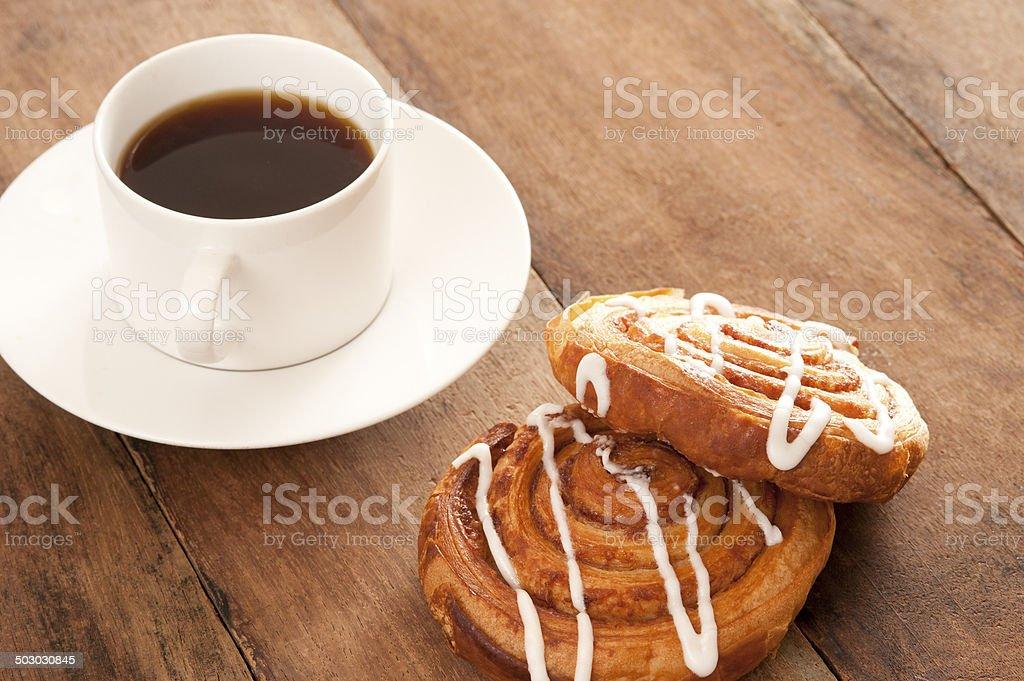 Coffee with Danish pastries stock photo