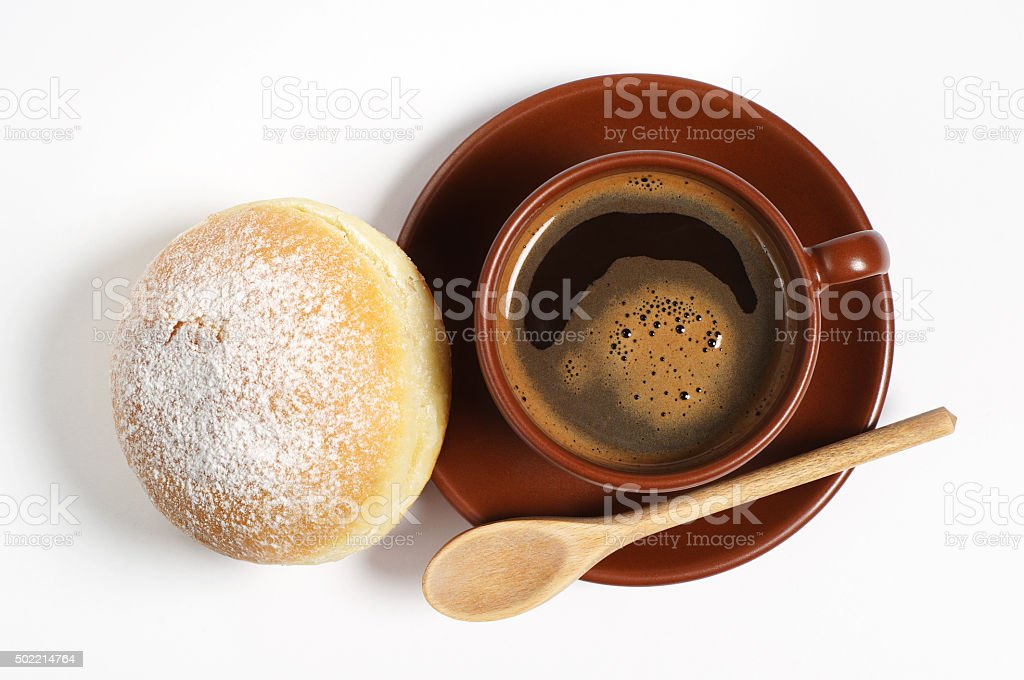 Coffee with fresh donut stock photo