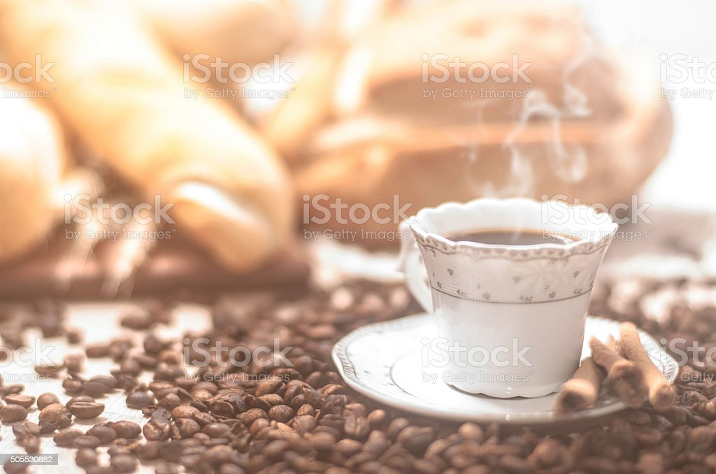Coffee with grains and rich aroma stock photo