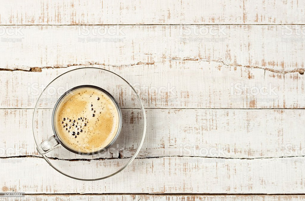 coffee with heart shaped bubbles stock photo