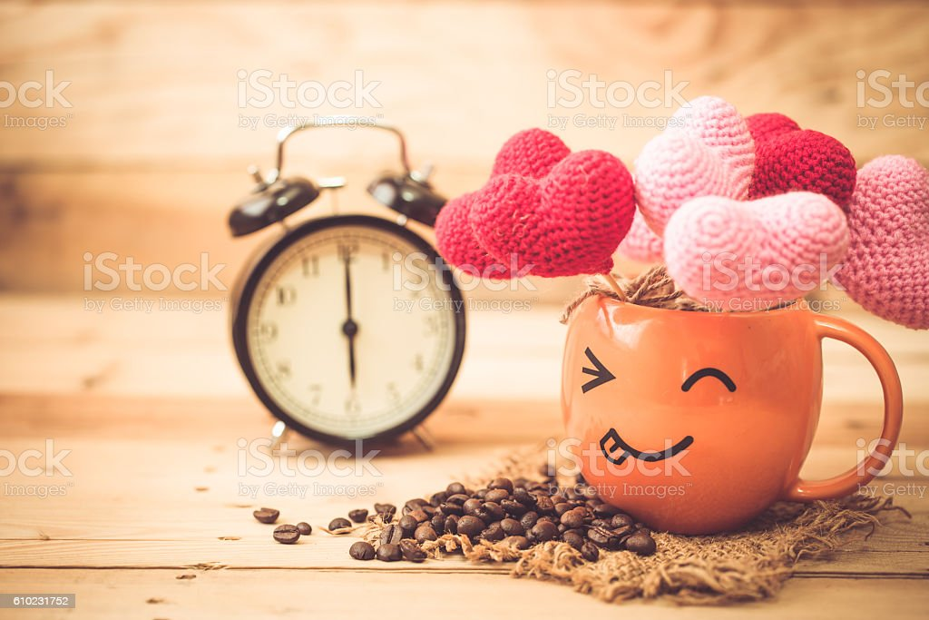 coffee with love and times. stock photo