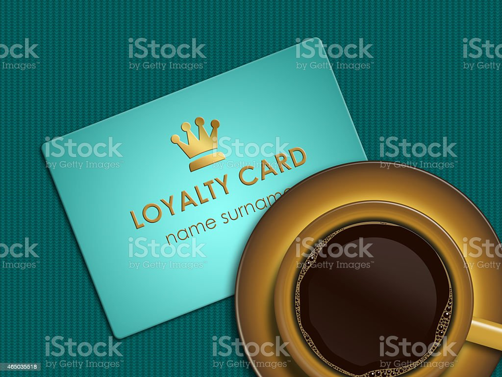 coffee with loyalty card lying on tablecloth stock photo
