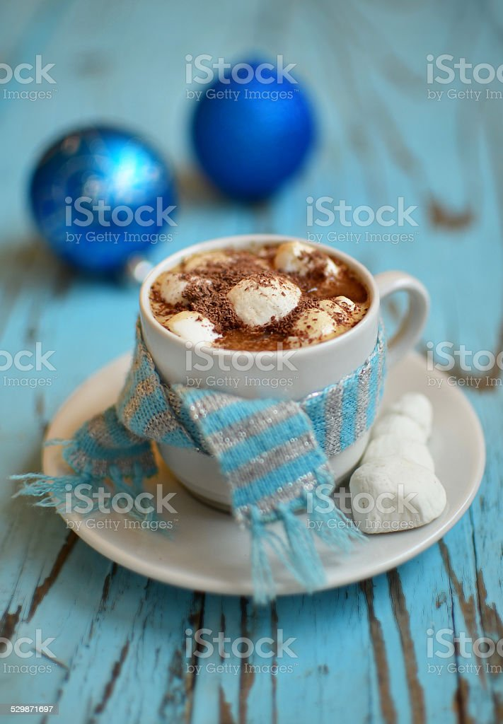 Coffee with marshmallow stock photo