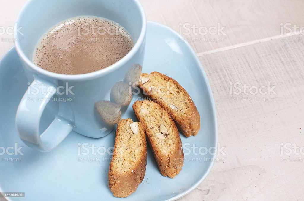 Coffee with milk and almond biscuit cookies royalty-free stock photo