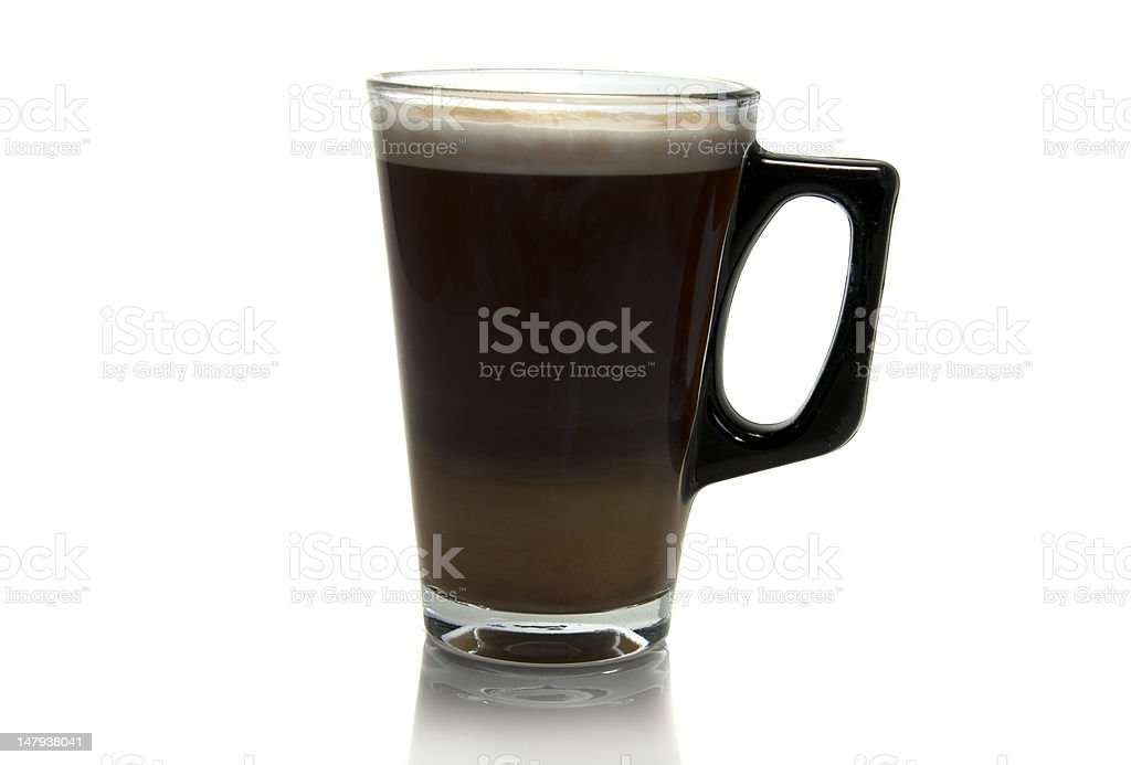 coffee with  milk in a glass stock photo