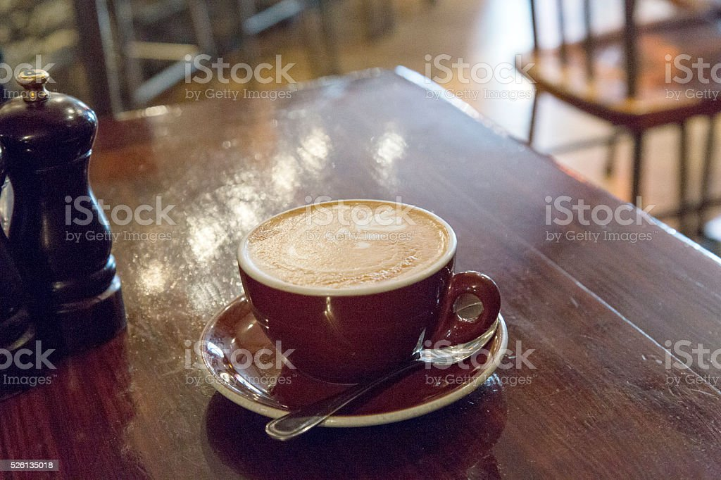 Coffee  with Silver Fern Motif stock photo