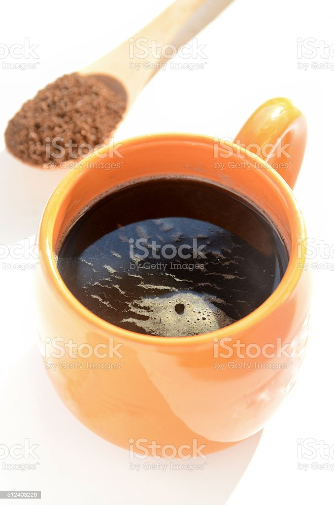 coffee with spoonful of coffee powder stock photo
