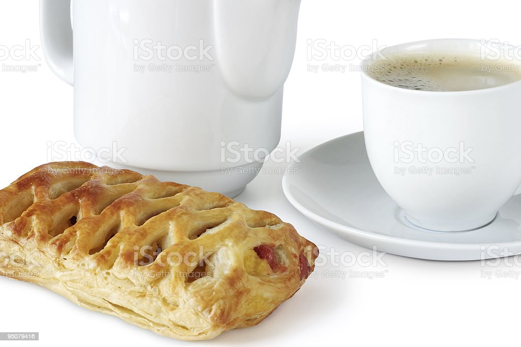 Coffee with sweet pie stock photo