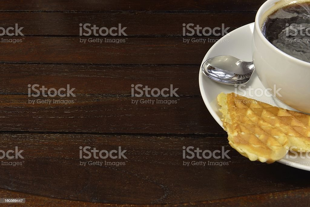 Coffee with waffle royalty-free stock photo