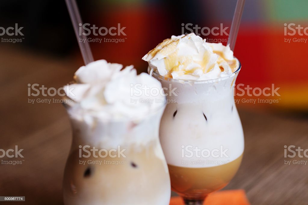 Coffee with whipped cream stock photo