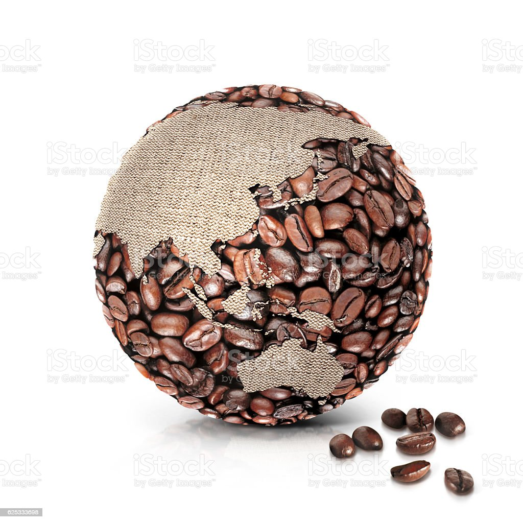 coffee world 3D illustration asia and australia map stock photo