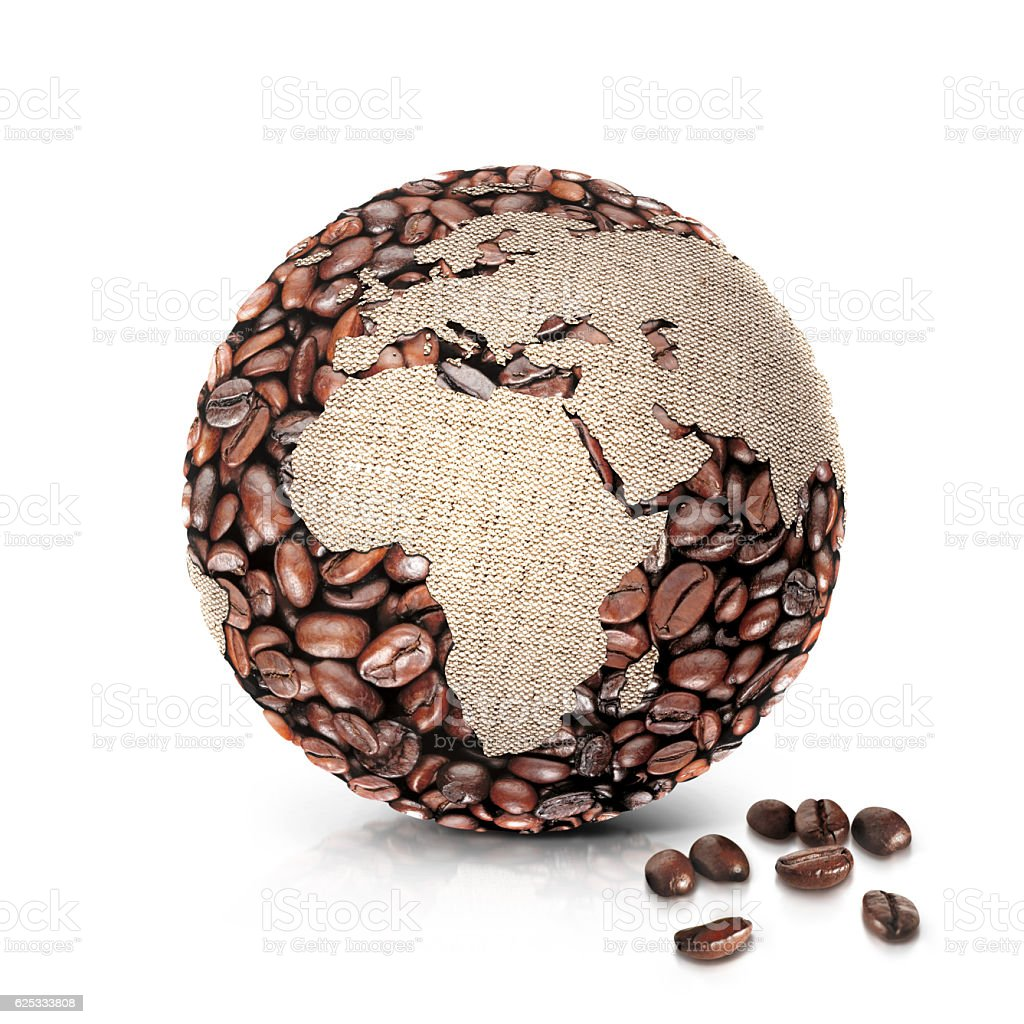 coffee world 3D illustration europe and africa map stock photo