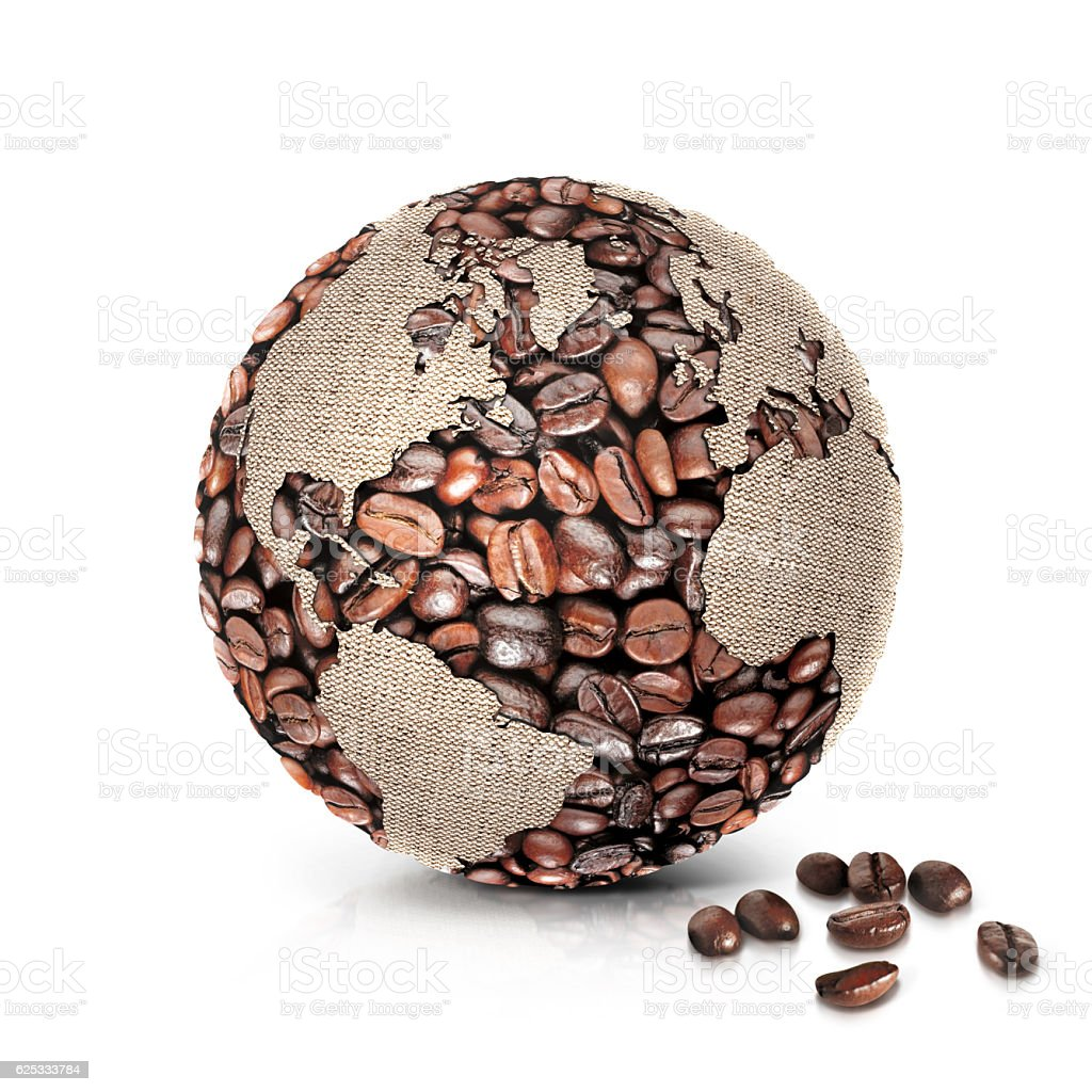 coffee world 3D illustration north and south america map stock photo