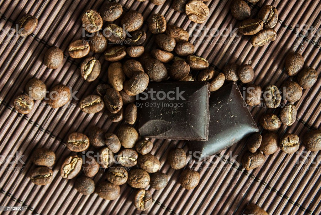 Coffeebeans and chocolate bars from top stock photo