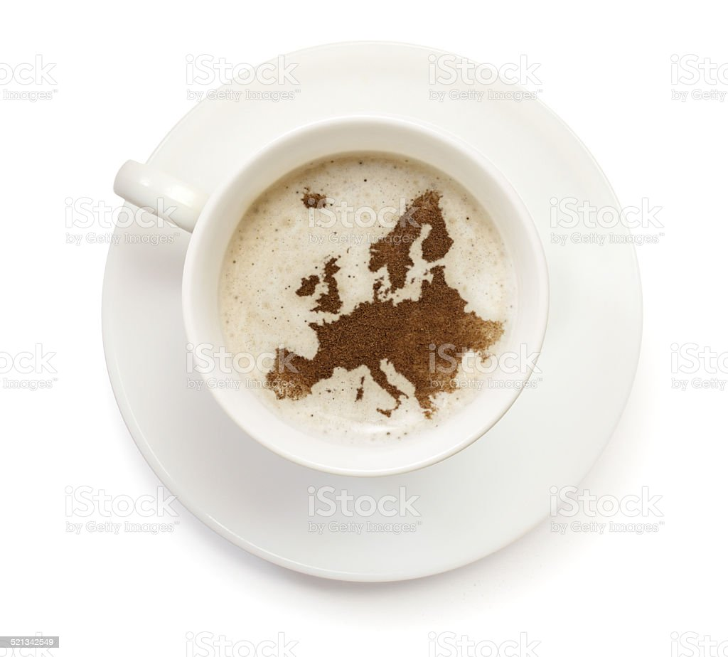 Coffeecup with powder in the shape of Europe stock photo