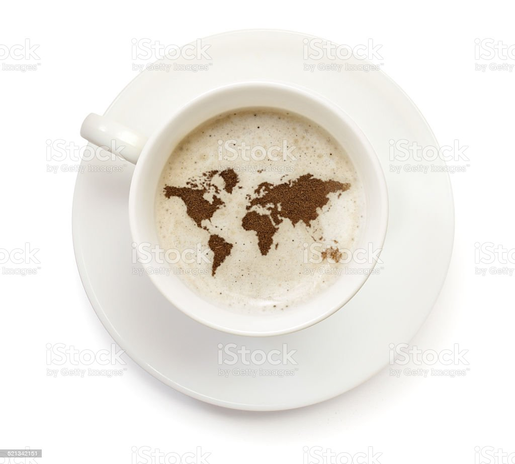 Coffeecup with powder in the shape of World stock photo