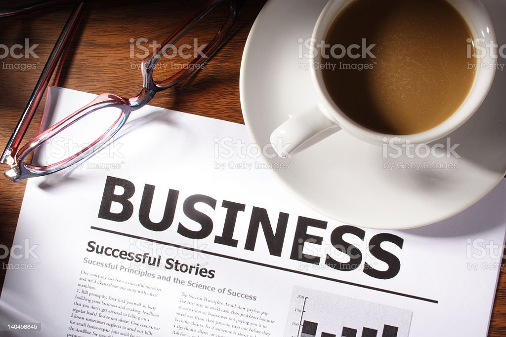 Coffee,Glasses and Business File on Table royalty-free stock photo